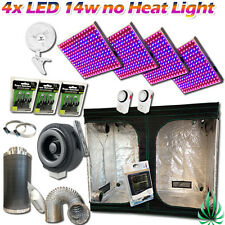 4x LED Panel Grow Lights Hydroponics 2.4M Growroom Tent 4inch Fan Filter Combo