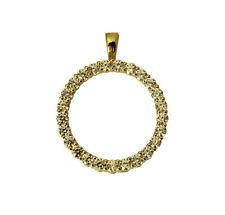 14K Yellow Gold Small Love Circle of Eternity Charm Pendant Cubic Zirconia