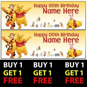 Buy 1 Get 1 Free Personalised Winnie the Pooh Birthday Banners 100gsm Kids Party