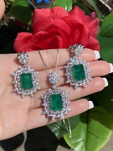 ATTRACTIVE NATURAL FOREST GREEN EMERALD JEWELRY SET 925 STERLING SILVER
