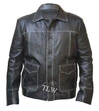 BLACK Fight Club Brad Pitt Red Leather Jacket FC Coat ,100% Genuine Leather
