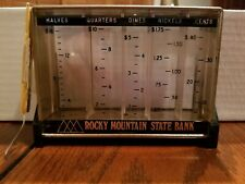 Rocky Mountain State Bank Vintage 1950-60's Coin Sorter Piggy Bank With Key