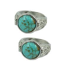 2pcs Beautiful Blue Turquoise Ring Adjustable Retro Filigree Flower Silver