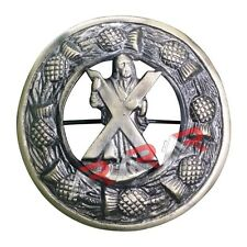 """Kilt Fly Plaid Brooch Thistle Design ST Andrew Badge and High Quality Brass 3"""""""