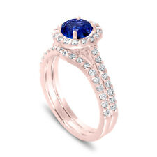 Blue Sapphire Engagement Ring Sets 1.83 Carat 14K Rose Gold Certified Halo Pave