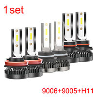 3Pairs/Set 9006+9005+H11 LED Headlight Kit 2800W 6000K 420000LM Hi-Low Beam Bulb