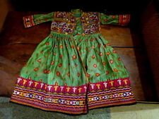 Vintage Afghan Tribal Banjara Girls Dress Mirrors Print Silk Embroidery
