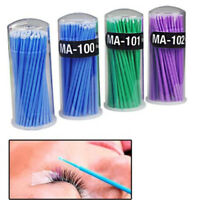 100PCS Disposable Swab Applicator Micro Brush Eyelashes Extension Mascara Tool H