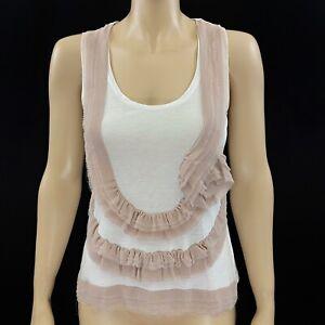 Kenzo White Blush Silk Ruffle Trim Sleeveless Top Size M