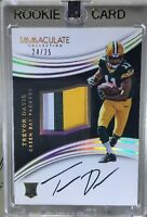 2016 Immaculate TREVOR DAVIS RPA RC 3 CLR JRSY Patch OC AUTO #24/25 SP Packers