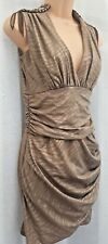 JANE NORMAN ** SIZE UK 14 ** KHAKI BEADED EPAULETTE SHOULDER DRESS