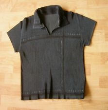 ISSEY MIYAKE Pleats Please Charcoal Collared Blouse Size 5 Made in Japan
