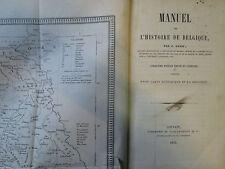 DAVID : MANUEL DE L'HISTOIRE DE BELGIQUE. Louvain, 1853. Carte et tableaux.