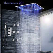 "20"" LED Brass Shower Head Faucet Top Shower Thermostatic Valve Hand Sprayer Tap"