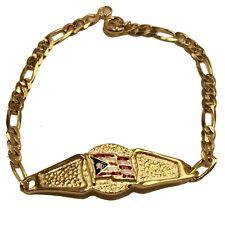 Puerto Rico Flag Tag ID Bracelet 18K Gold Plated Bracelet 7 inch - Pto Rico Flag