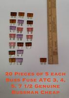 20 Pack (5 of each type) Buss Fuse ATC 3, 4, 5, 7 1/2 Genuine Bussman Cheap