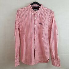 Superdry Mens Shirt Pink Size M Pure Cotton Checked 1 Pocket Longsleeve
