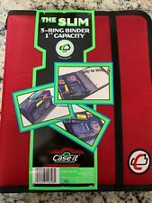 "CASE IT THE SLIM 3-RING BINDER 1"" CAPACITY RED Brand New"