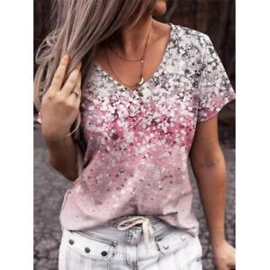 Summer Women Short Sleeve V Neck Floral Print T Shirt Casual Blouse Loose Tops
