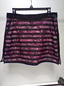 Lady Hagan Essentials women's black stripe & pink paisley golf skirt in size 8