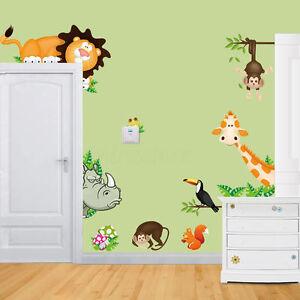 Animal Wall Stickers Monkey Jungle Zoo Tree Nursery Baby Kids Bedroom Decals