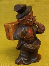 "Vintage Arni-Style Hand Carved Wood Man Cigarette Box Match Holder 6.5"" Tall"