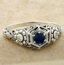 Sterling Silver Ring Size 10, #960 Genuine Sapphire Nouveau Antique Style 925