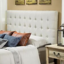 Contemporary Queen/Full Eggshell Fabric Headboard w/ Button Tufted Accent