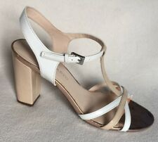 New Franco Sarto Ebba White & Tan Beige Patent T Strap Sandals Heels sz 9M
