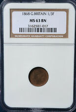 1868 Great Britain 1/3 Farthing NGC MS63 BN - Very Nice Coin!