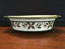 Temp-tations by Tara Holiday Holly Ovenware Oval Baking Dish 2 qt & Wire Carrier