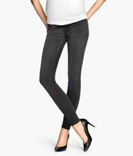 H&M Mama Maternity Jeans Denim Super Skinny Black Size 4 Slim Ankle Low Rise EUC