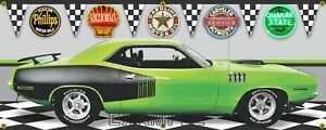 1971 Hemi Plymouth Green Cuda 13oz Vinyl Banner.  Two Sizes Available