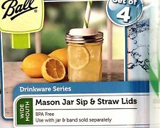 Mason Jar Sip and Straw Lids For Wide Mouth Drinkware by Ball Set of 4