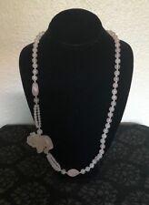 VTG Rose Quartz Carved Elephant Bead Strand Necklace Hand Knot Natural Quartz