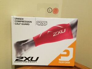 2XU PWX Unisex Compression Calf Guard Leg Sleeves - Pair - Red - L Large