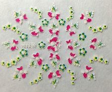 Accessoire ongles : nail art - Stickers autocollants - papillons et fleurs