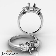 Round Semi Mount  Diamond Classic 3 Stone Engagement Ring 18k White Gold 0.5Ct