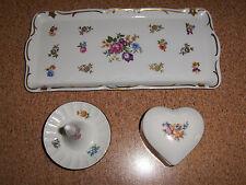Vintage Dresser Vanity Set 3 Pc Tray Ring Holder Trinket Box Tray GDR Germany