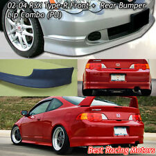 TR Style Front + TR Style Rear Bumper Lip (Urethane) Fits 02-04 Acura RSX 2dr