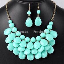 Light Blue Teardrop Bubble Chain Bib Choker Necklace + Earring Women Jewelry Set
