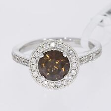 18k WHITE GOLD FANCY COGNAC BROWN 1.63ct ROUNND BRILL DIAMOND ENGAGEMENT RING