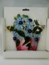 Blue Sky Clayworks Ceramic Flower Pot Wall Hanging Plaque with Blue Flowers New