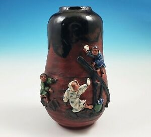Antique Japanese Sumida Gawa Pottery Vase 3 Applied Figures Ishiguro Koko Signed