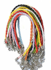 Lots 10pcs Mixed Color Leather Chains String Cord Bracelets Necklace Crafts DIY