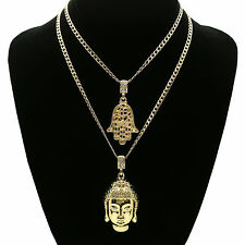 "14K Gold Plated St Steel Chain 24""/30"" Buddha & Hamsa Hip Hop Pendant Set 63/62"
