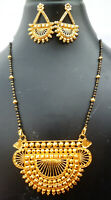 Indian 22K Gold Plated 11 Inch Long Fashion Weddings Necklace Pendant Set E