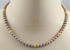 Süßwasser-Perlenkette  bronzefarben mit goldenen Blüten 45 cm