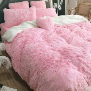 160*200cm Pink Super Soft Throw Blanket Long Shaggy Cozy Fluffy Faux Fur Sheet