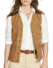 Lauren Ralph Lauren Suede Button Front Vest In Natural Khaki Size 6 $598 Butter